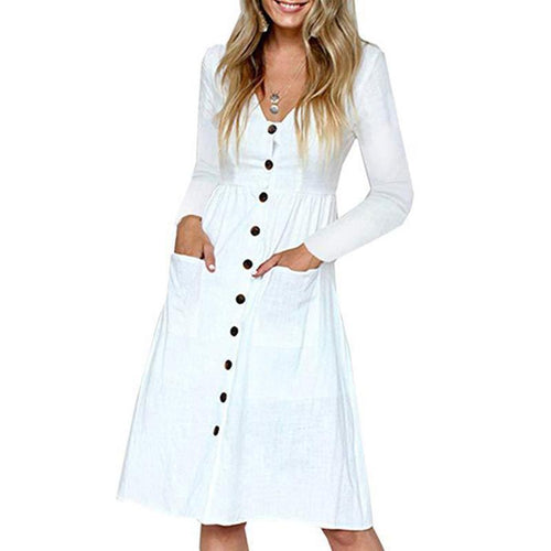 V Neck  Patch Pocket Single Breasted  Plain Shift Dress