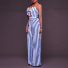 Stripe Printed Sexy V Collar Sleeveless Slim Jumpsuit