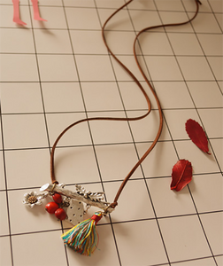 Bird flower tassel red long necklace sweater chain