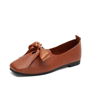 Plain  Flat  Faux Leather  Square Toe  Casual Flat & Loafers