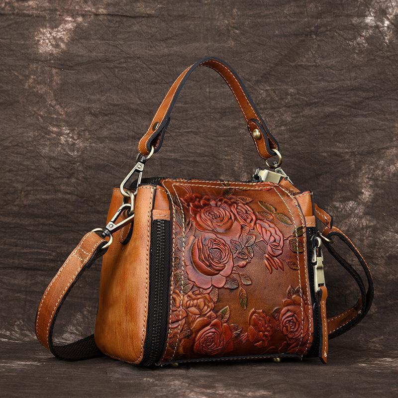 Women Vintage Manual Embossing Cowhide Single Shoulder Bag