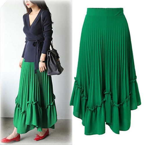 High Waist  Pure Color Pleated Skirt