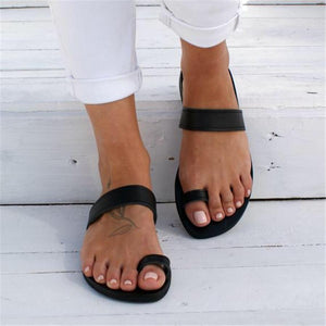 Simple beach open toe flat slippers