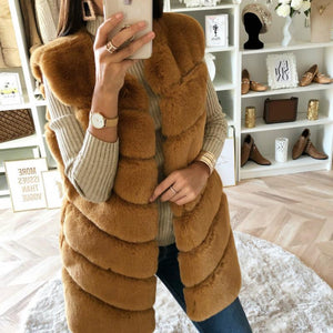 Winter Warm Faux Fur Sleeveless Plain Elegant Vests Outerwear