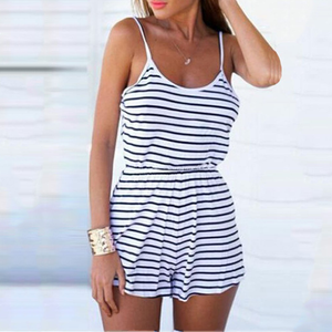 Striped Sling Slim Beach Holiday Skirt Jumpsuit