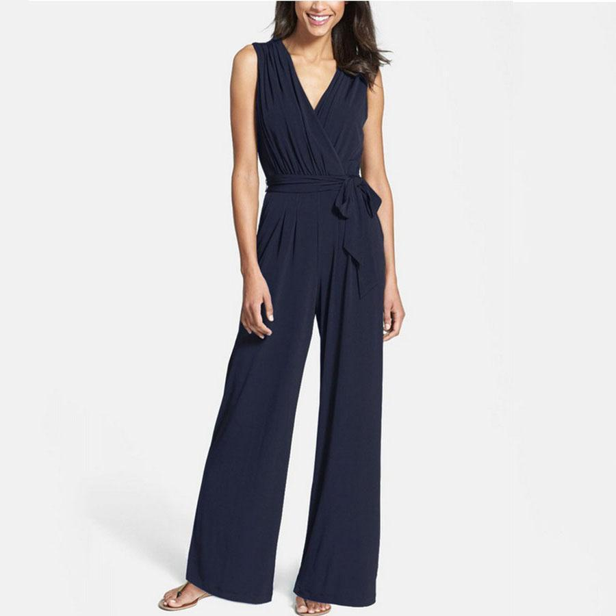 V Neck Plain High Rise Waist Wide Leg Jumpsuits