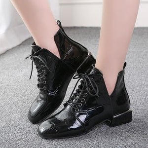 Autumn And Winter New Patent Leather Square Head British Wind Low Heel With Lace Martin Boots Women's Booties