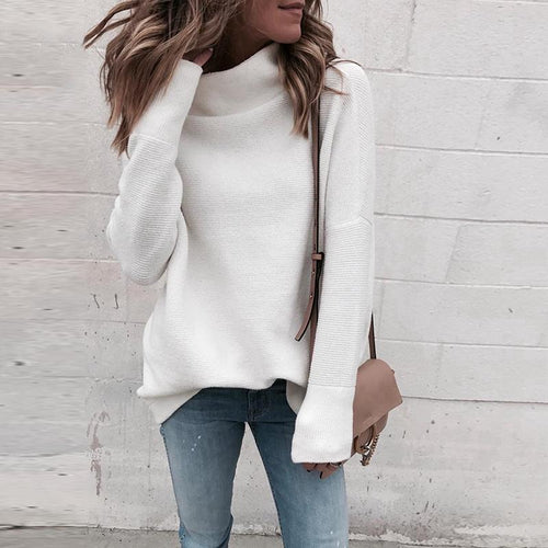 Turtle Neck Long Sleeve Plain Knitting Sweaters