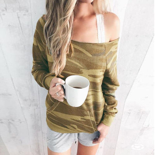 Open Shoulder  Camouflage  Sweatshirts