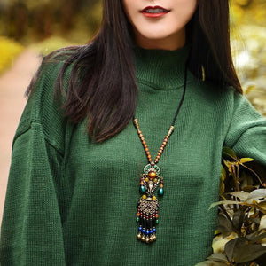 Fashion Vintage National wind sweater chain   tassel pendant necklace