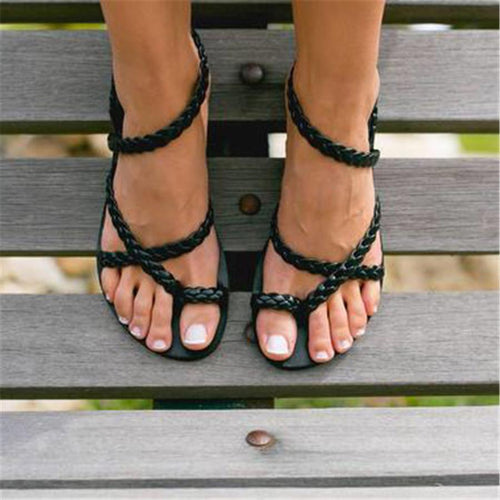 Woven beach open toe flat sandals