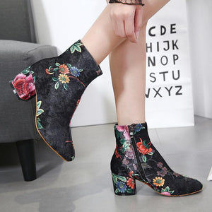 Fashion short   tube printed suede bare boots