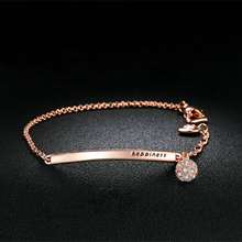 Zircon Rose Gold Simple Letter Chain Bracelet