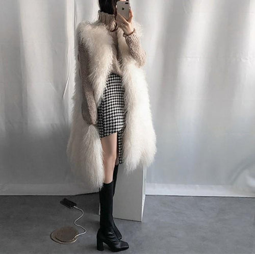 Casual Long Imitation fur plush vests coat
