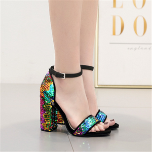 Thick and colorful sequined buckle sandals