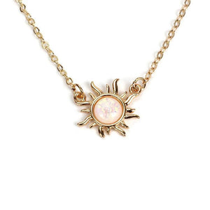 Fashion Sunflower Opal Necklace