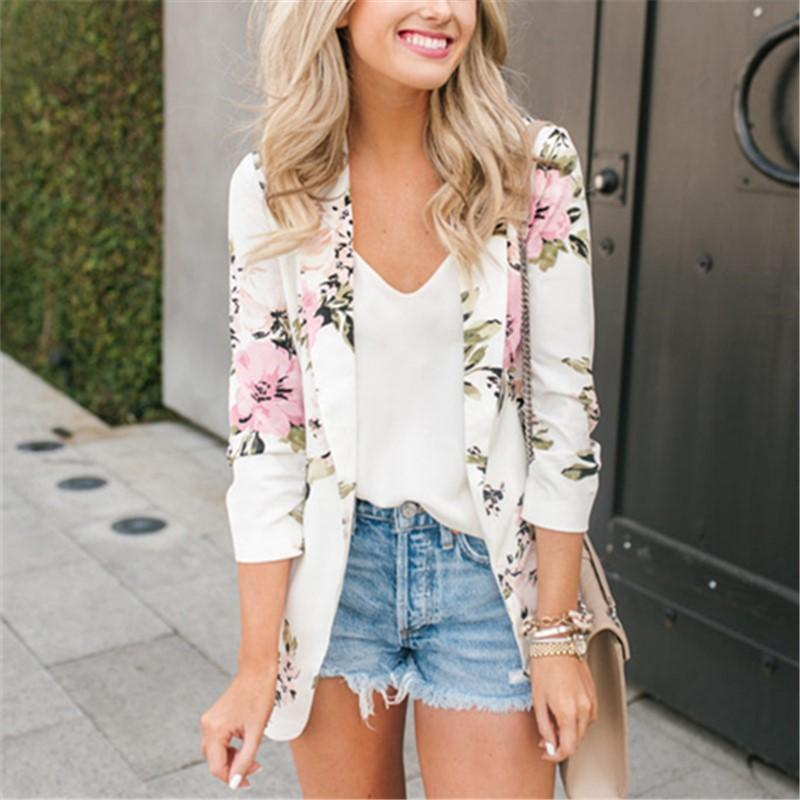 Casual Peony Print Long Sleeved slim Coat thin Blazer