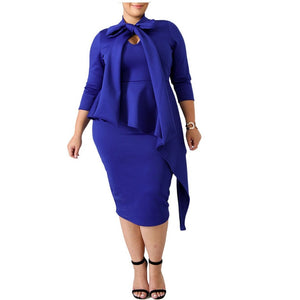 Solid Color Bow Tie Pencil Dress