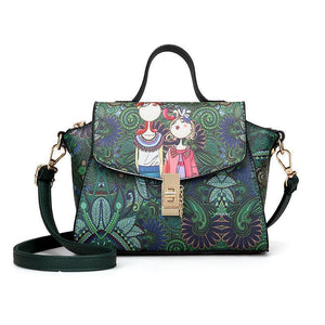 Women Fashion Vintagepu Flower Pattern Printing Crossbody Bag Single Shoulder Bag Handbag