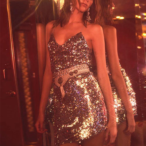 Sexy Sequins V Neck Bare Back Slit Mini Dresses