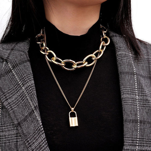 European and American fashion temperament punk hollow geometry necklace