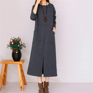Pure Color Long Dress Round Collar Straight Skirt Maxi Dresses