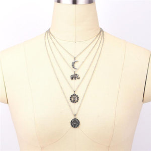 Bohemian Moon Elephant Multilayer Necklace