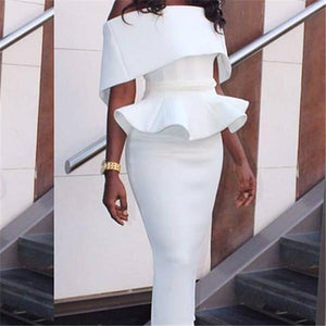 Sexy one word shoulder flounces edge bag buttock pencil skirt