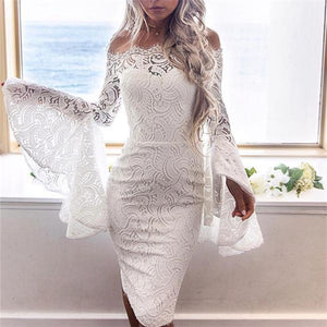 Sexy One Word Collar Lace Horn Sleeve Wrap Hip Skirt