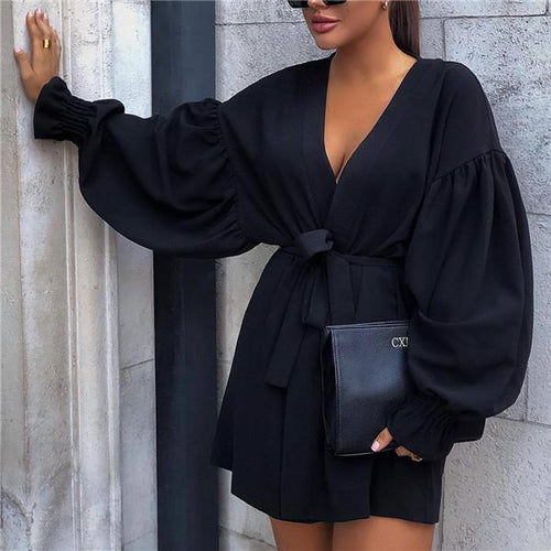 Sexy lantern sleeve v-neck waist dress