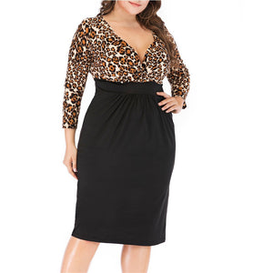 V Collar Seven-Point Sleeve Leopard Sexy Dress Sexy Large Size