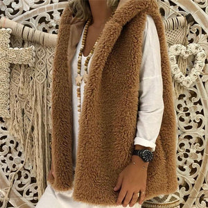 Casual Pure Color   Sleeveless plush vests coat
