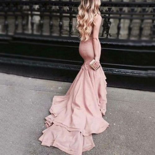 Sleeveless Mermaid Hem Evening Dress