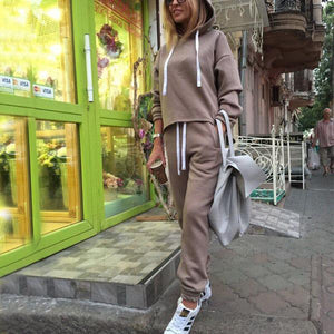 Pure Color Two Pieces Of An Irregular Hooded Hoodie Suit