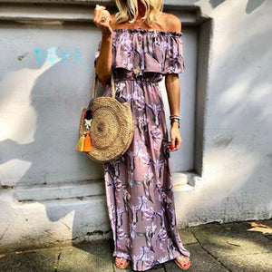 Off Shoulder Printed Elastic Waist Casual Dress