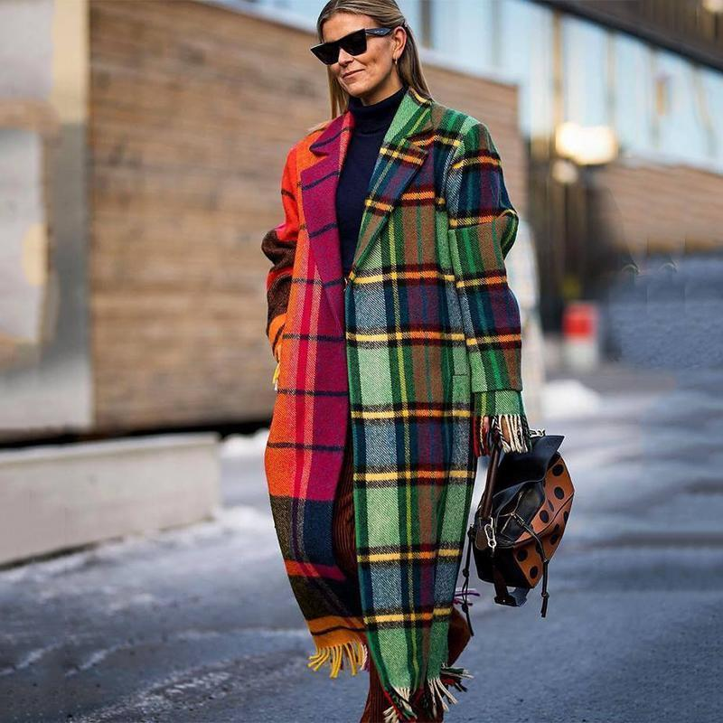 Fashion Lapel Collar Check Color Blocking Long Coat