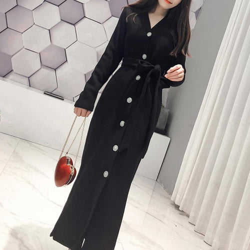 Fashion Retro Style Frenulum Long Sleeve Slimming Knitted Maxi Dress