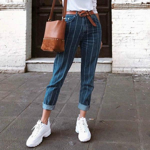 Striped Slim Stretch Wash Jeans With Nine - Point Pants