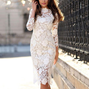 Sexy Long Sleeve Lace Pencil Mini Dress