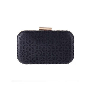 Hollow Out Pu Chain Clutch Bag