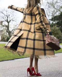 Chic Casual Color Block Plaid Lapel Shoulder Padded Long Coat