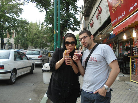 Enjoying pomegranate juice in Tehran