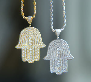Iced Out Hamsa Pendant Chain Silver & Gold