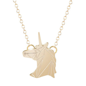 Magical Unicorn Head Pendant Silver & Gold