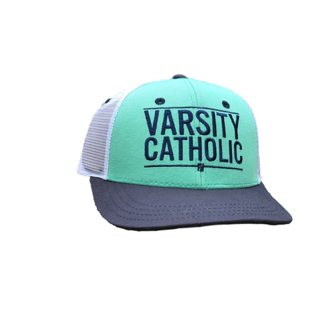 Varsity Catholic Trucker Hat, Navy w/ White Mesh