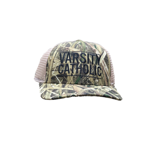 Varsity Catholic Trucker Hat, Grey w/ Black Mesh