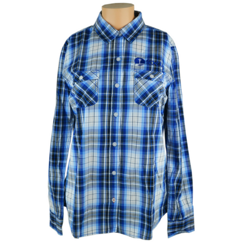 Women's Plaid Long Sleeve Shirt, Navy