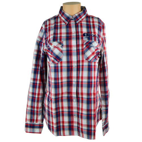 Women's Plaid Long Sleeve Shirt, Red