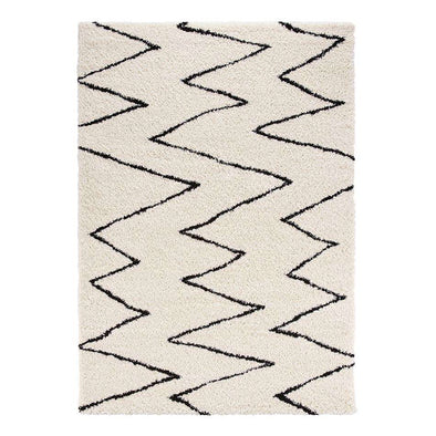 Design Verlours Deep Pile Carpet Jara Cream Black
