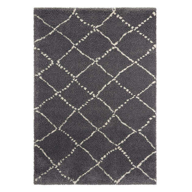 Design Verlours Deep Pile Carpet Hash Dark Grey Cream